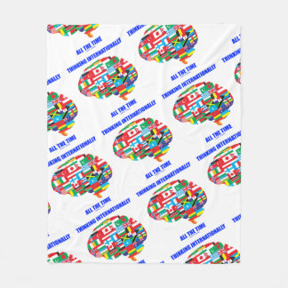 Thinking Internationally All The Time Flags Brain Fleece Blanket