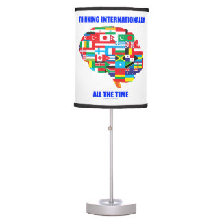 Thinking Internationally All The Time Flags Brain Table Lamp