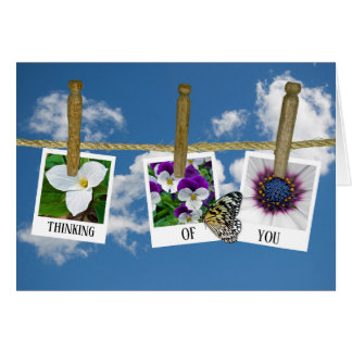 thinking o you floral photos on clothesline card