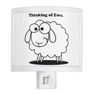 Thinking of Ewe Lamb Sheep Cute Cartoon Night Lite