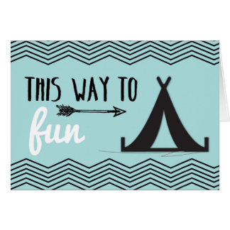 Thinking of You at Camp, Tent & Arrow on Teal Card
