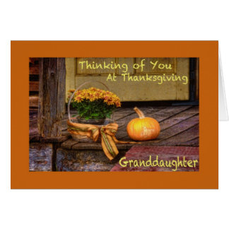 Thinking of you at Thanksgiving Granddaughter Card