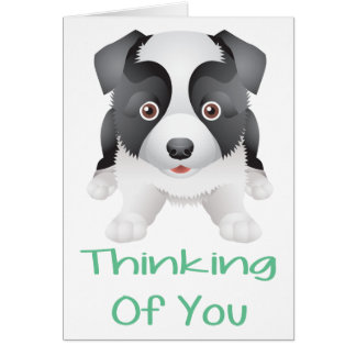 Thinking of You Border Collie Puppy Dog Note Card