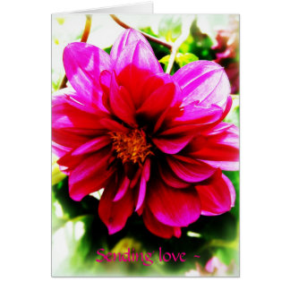 Thinking of you card pink flower on green