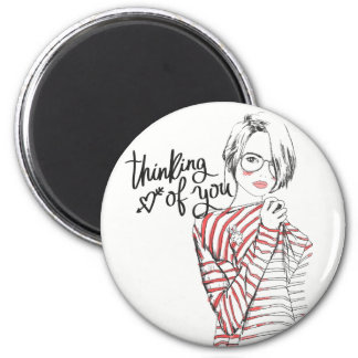 """Thinking of You"" Customizable Round Magnet"