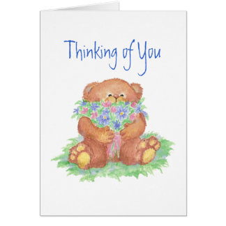 Thinking of You Flowers &  Teddy Bear Card