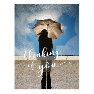 """""""Thinking of You"""" Girl, Umbrella Reflected in Pool Postcard"""