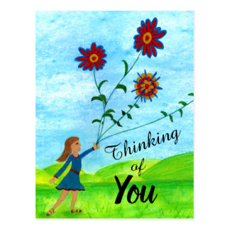 Thinking of You Girl With Flowers Postcard