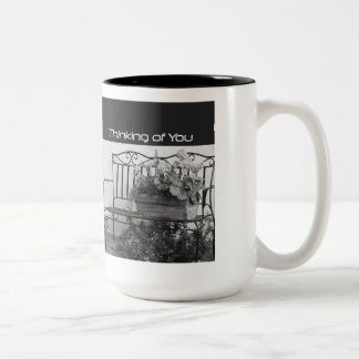 Thinking of You, Iron Bench with Flowers Two-Tone Coffee Mug