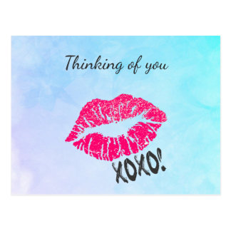 Thinking of You Kissy Lips Postcard
