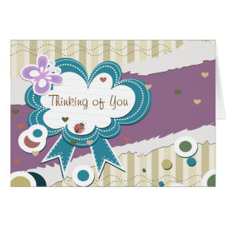 Thinking of You - Ladybug Hearts Butterfly Card