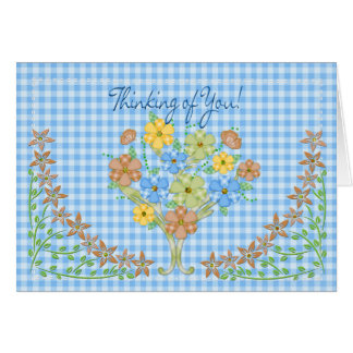 THINKING OF YOU NOTECARD - BLUE GINGHAM/FLOWERS