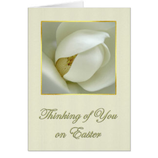 Thinking of You on Easter White Magnolia Blossom Card