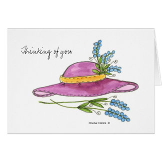 Thinking of You*Pink Hat Blank note card