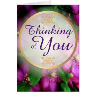 Thinking of You Purple Pink Clematis Flowers Card