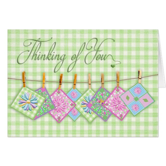 Thinking  of You - Quilt Squares - Clothesline - Card