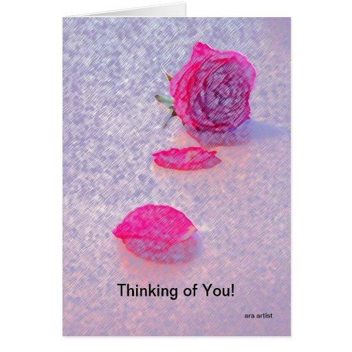 THINKING OF YOU ROSE PASTEL,INSIDE THANK YOU SO MU CARD