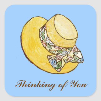 Thinking of You Straw Hat Sticker