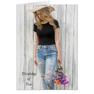 thinking of you-teen girl with daisies card