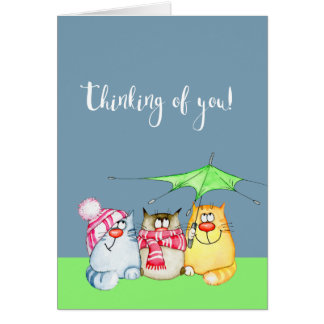 Thinking of You Three Cute Cats Card