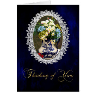 THINKING OF YOU -VINTAGE BLUE LACE STATIONERY NOTE CARD