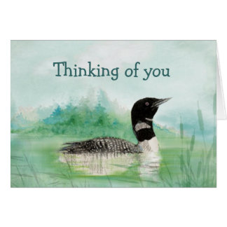 Thinking of You Watercolor Loon Bird Nature Card