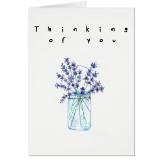 Thinking of you watercolor lylac flower card