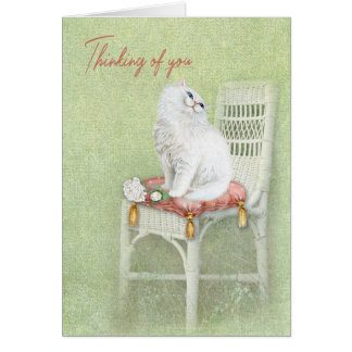 thinking of you-white cat and roses on pillow card