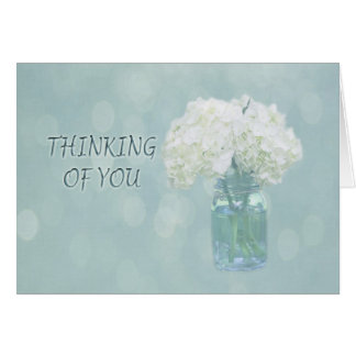 Thinking Of You White Hydrangea In A Vase Card