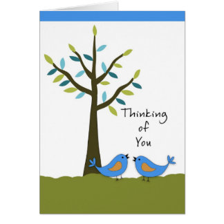 Thinking of You with Two Blue Birds and Tree Card