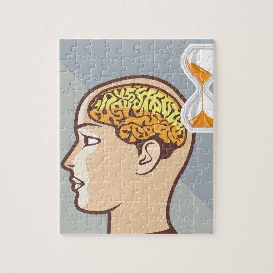 Thinking Process Brain and Sand Clock Jigsaw Puzzle