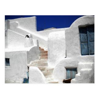 Thirasia maison island Greece above Santorini Postcard