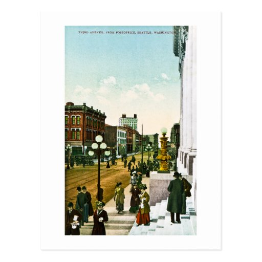 Third Avenue, from Post Office, Seattle,Washington Post Cards