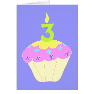 Third Birthday Cupcake Party Invitations