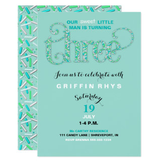 "Third Birthday Mint & Aqua Sprinkles 3 Year Old 5"" X 7"" Invitation Card"