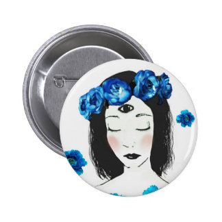 Third eye Chakra blue rose 2 Inch Round Button