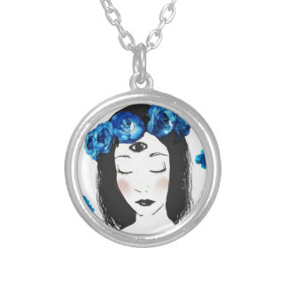 Third eye Chakra blue rose Silver Plated Necklace