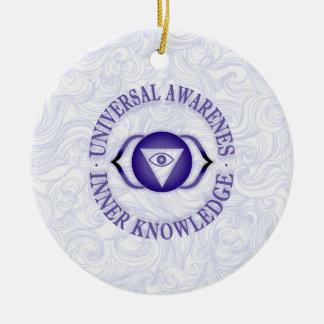 Third Eye chakra Round Ceramic Ornament