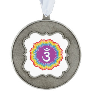 Third Eye chakra Scalloped Pewter Ornament