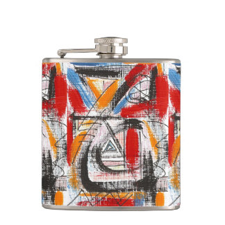 Third Eye-Hand Painted Abstract Art Hip Flask