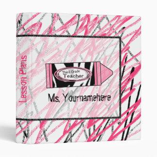 Third Grade Teacher Binder - Zebra Print Crayon