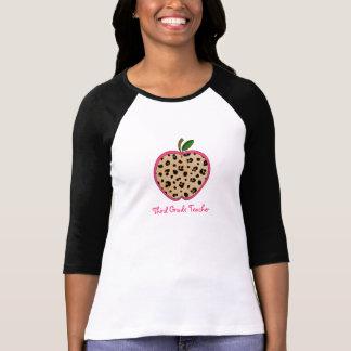 Third Grade Teacher Leopard Print Apple T-Shirt