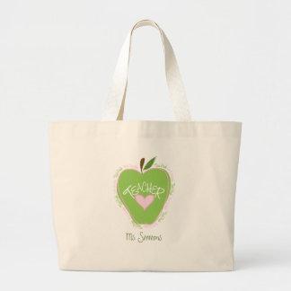 Third Grade Teacher Pink & Green Apple Large Tote Bag