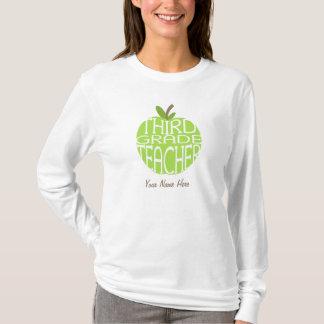 Third Grade Teacher T Shirt - Green Apple