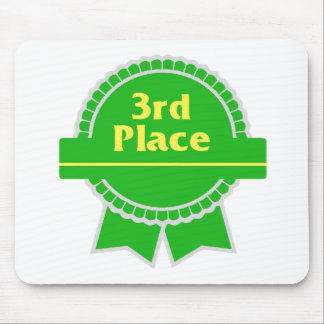 Third Place Green & Gold Ribbon Mouse Pad