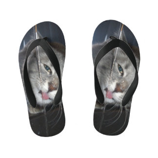 Thirsty Cat Drinking From Tap, Kid's Flip Flops