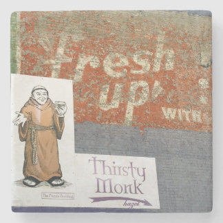 Thirsty Monk,Asheville North Carolina, Marble Ston Stone Coaster