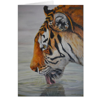 """""""Thirsty"""" Tiger Art Reproduction Note Card"""