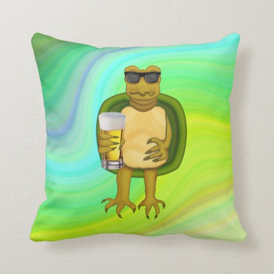 Thirsty Turtle Throw Pillow