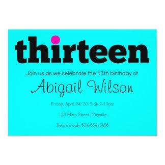 Thirteen- 13th Birthday Party Invitation